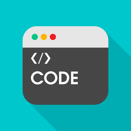 Coding flat icon with long shadow on color background , vector illustration , eps10
