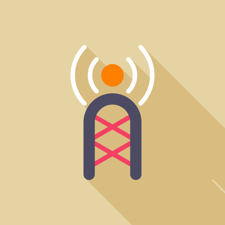 communications tower: Communications tower flat icon with long shadow on color background , vector illustration , eps10 Illustration