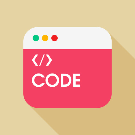 java script: Coding flat icon with long shadow on color background , vector illustration , eps10
