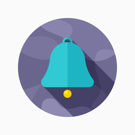 peal: Bell flat icon with long shadow on blue circle background , vector illustration , eps10