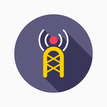 communications: Communications tower flat icon with long shadow on blue circle background , vector illustration , eps10