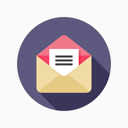 E-mail flat icon with long shadow on blue circle background , vector illustration , eps10