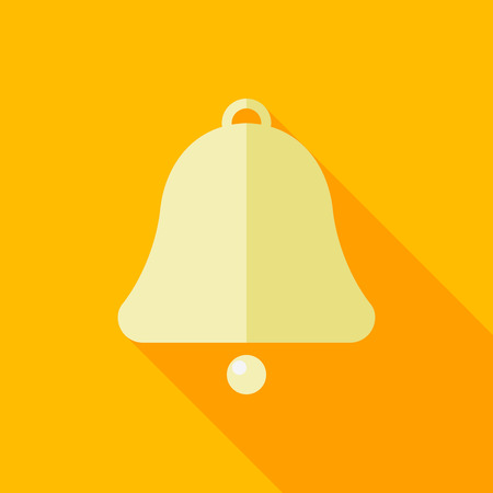 peal: Bell flat icon with long shadow on color background , vector illustration , eps10