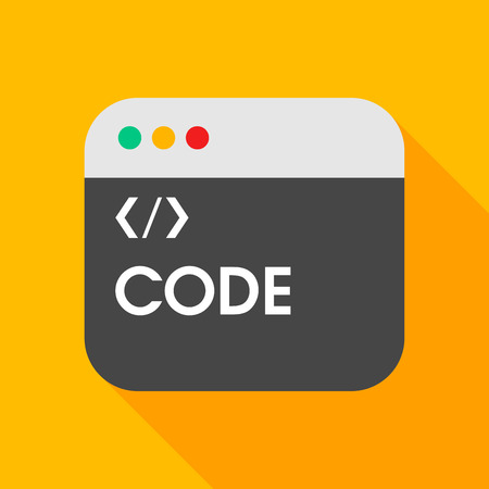 metadata: Coding flat icon with long shadow on color background , vector illustration , eps10