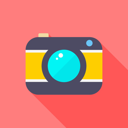 Camera flat icon with long shadow on red background , vector illustration , eps10