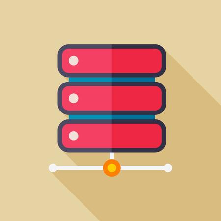 data base: Data base flat icon with long shadow on color background , vector illustration , eps10 Illustration