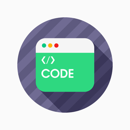 metadata: Coding flat icon with long shadow on blue circle background , vector illustration , eps10 Illustration