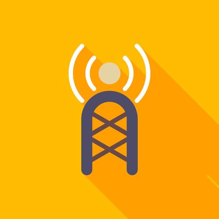 microwave antenna: Comunicaciones icono de la torre plana con una larga sombra sobre fondo de color, ilustraci�n vectorial, eps10