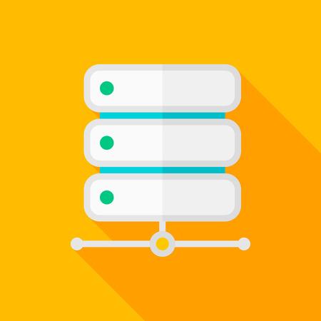 bases de donn�es: Base de donn�es ic�ne plat avec ombre sur fond de couleur, illustration vectorielle, eps10