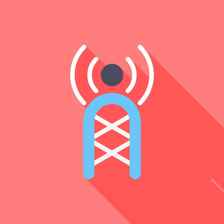 communications tower: Communications tower flat icon with long shadow on red background , vector illustration , eps10 Illustration