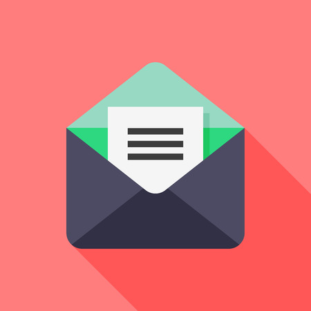 E-mail flat icon with long shadow on red background , vector illustration , eps10
