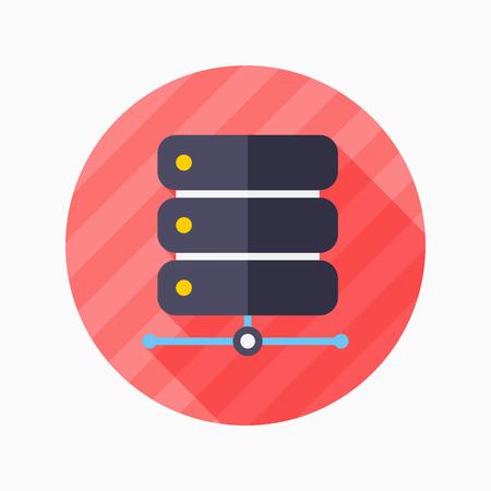 bases de donn�es: Base de donn�es ic�ne plat avec ombre sur bleu cercle fond, illustration vectorielle, eps10