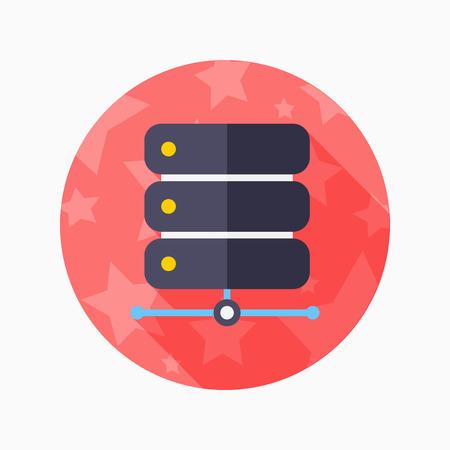 data base: Data base flat icon with long shadow on blue circle background , vector illustration , eps10