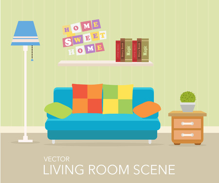 living room design: Interior of a living room. Modern flat design illustration