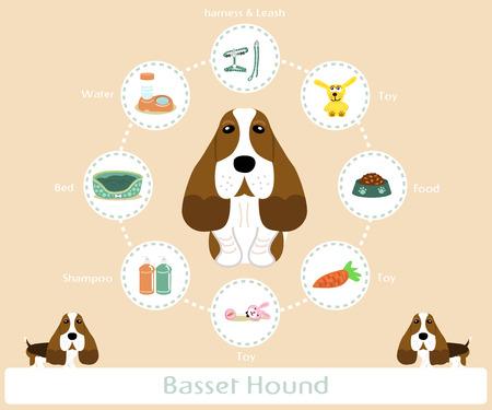 basset hound: Art�culos para mascotas (perro de afloramiento) infograf�a sobre fondo c�lido - vector conjunto de iconos e ilustraciones