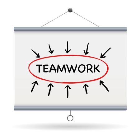projector screen: teamwork keyword on projector screen  illustration design over a white background Illustration