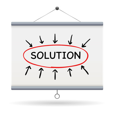 projector screen: solution keyword on projector screen  illustration design over a white background