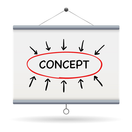 keyword: concept keyword on projector screen  illustration design over a white background Illustration