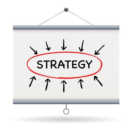 keywords: strategy keyword on projector screen  illustration design over a white background Illustration