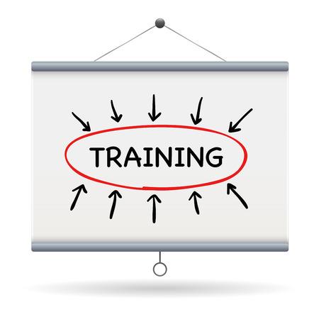 vocational training: training keyword on projector screen  illustration design over a white background Illustration