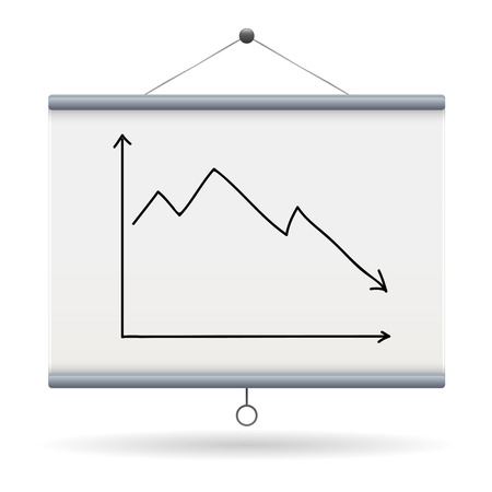 drop chart keyword on projector screen  illustration design over a white background