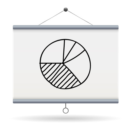 projector screen: pie chart keyword on projector screen  illustration design over a white background Illustration
