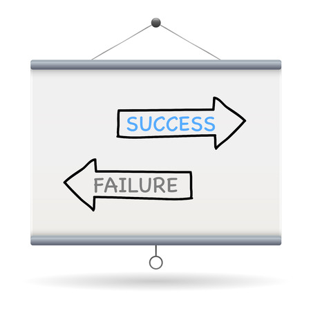 to keyword: success and failure keyword on projector screen  illustration design over a white background
