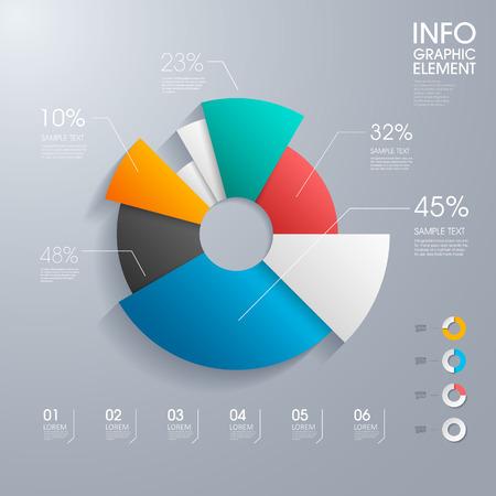 Moderno vettore torta astratto grafico infografica elements.can essere utilizzato per il layout del flusso di lavoro, diagramma, opzioni numero, web design. illustrazione, EPS10 Archivio Fotografico - 39171741