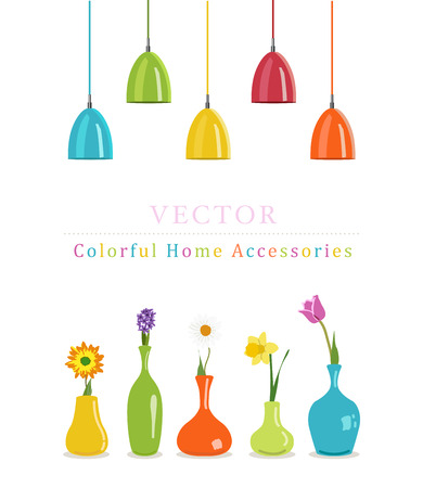 home lighting: Vector colorful home accessories (vases and lamp , lighting)