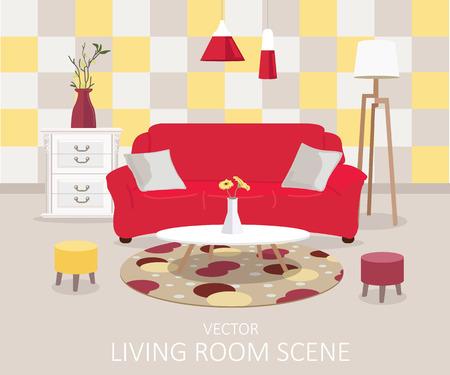 Interior de una sala de estar. Ilustración moderno diseño plano Foto de archivo - 39171815
