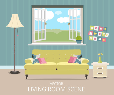 living room wall: Interior of a living room. Modern flat design illustration