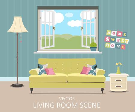 case moderne: Interno di un soggiorno. Moderno appartamento di design illustrazione Vettoriali