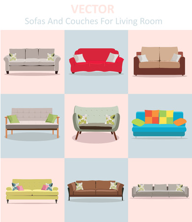 upholstered: Vector sofa and couches for living room  Illustration