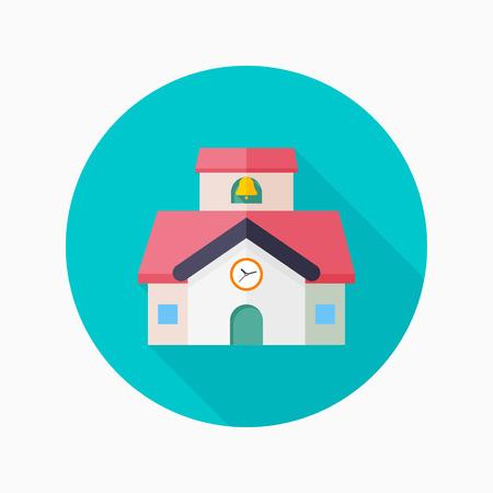 edificio escuela: Icono plana escuela con larga sombra sobre fondo azul del círculo, conceptos educativos, ilustración vectorial