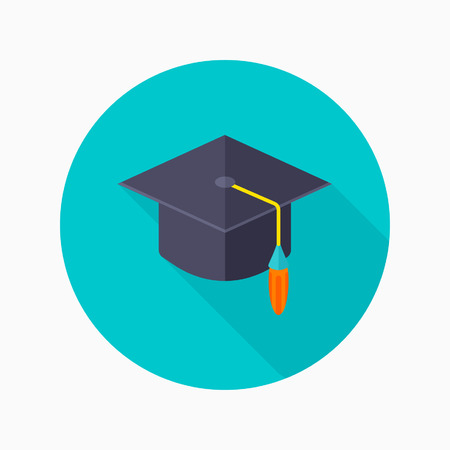 bachelor: Bachelor cap flat icon with long shadow on blue circle background , educational concepts , vector illustration