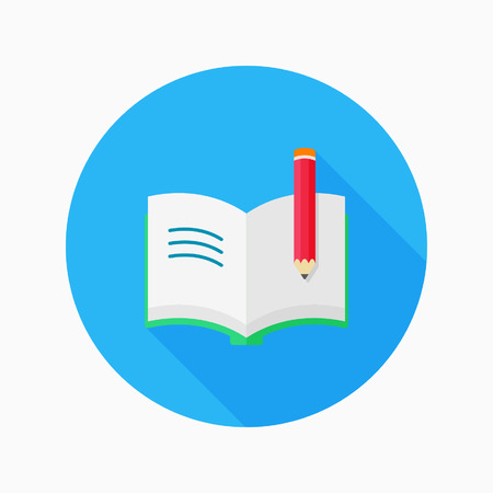 Book flat icon with long shadow on blue circle background , educational concepts , vector illustration
