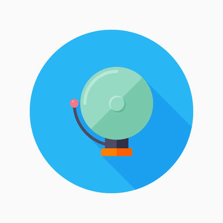 firealarm: bell flat icon with long shadow on blue circle background , educational concepts , vector illustration