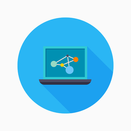 educational research: Research flat icon with long shadow on blue circle background , educational concepts , vector illustration , eps10 Illustration