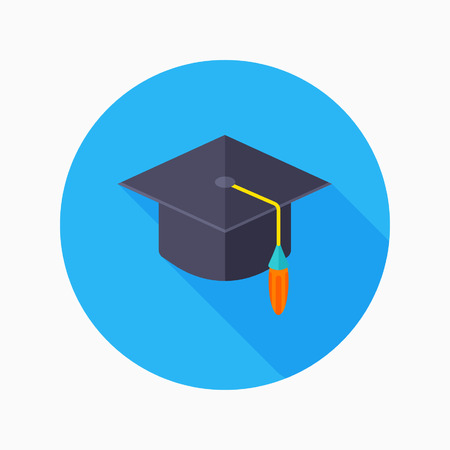 doctorate: Bachelor cap flat icon with long shadow on blue circle background , educational concepts , vector illustration