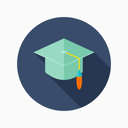 valedictorian: Bachelor cap flat icon with long shadow on blue circle background , educational concepts , vector illustration
