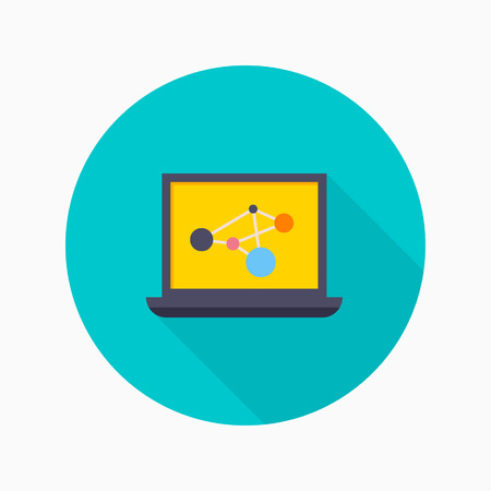 educational research: Research flat icon with long shadow on blue circle background , educational concepts , vector illustration