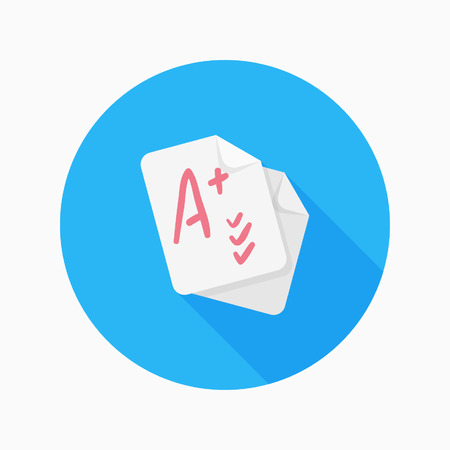 Exam flat icon with long shadow on blue circle background , educational concepts , vector illustration  Ilustracja