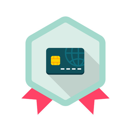 Credit card flat icon with long shadow on badge background,EPS 10 Vector