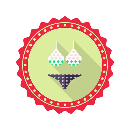 camisole: Bikini flat icon with long shadow on badge background,EPS 10 Illustration