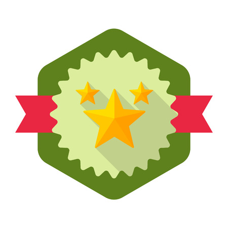 star rating: Star rating flat icon with long shadow on badge background,EPS 10