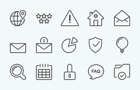 shield set: Linear internet icon Illustration