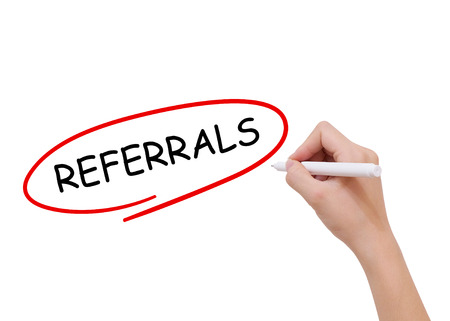 referrals: Referrals word drawn by hand on a transparent board Stock Photo