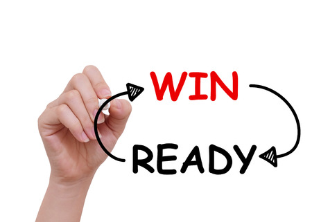 certainty: Win and ready word drawn by hand on a transparent board Stock Photo