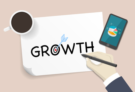 accomplish: Businessman writing growth word  in the white paper