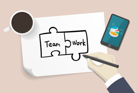 synergism: Puzzle(Team work word) drawn by hand on a white paper